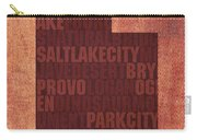 Utah Word Art State Map On Canvas Carry-all Pouch by Design Turnpike