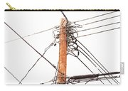 Utility Pole Hung With Electricity Power Cables Carry-all Pouch