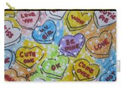Valentine Candy Hearts Carry-all Pouch