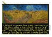 Van Gogh Motivational Quotes - Wheatfield With Crows Carry-all Pouch