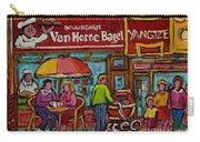 Van Horne Bagel With Yangtze Restaurant Montreal Street Scene Carry-all Pouch by Carole Spandau