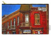 Vanishing Montreal Landmark Depanneur Ste. Emilie And Bourget Montreal Painting By Carole Spandau  Carry-all Pouch