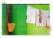 Vase Towels And Green Wall Carry-all Pouch