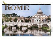 Vatican City Seen From Tiber River Text  Rome Carry-all Pouch