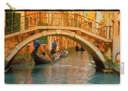 Venice Boat Bridge Oil On Canvas Carry-all Pouch