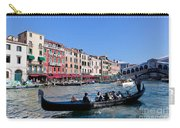 Venice Italy Gondola With Tourists Floats On Grand Canal Carry-all Pouch