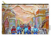Verdun Back Lane Hockey Practice Montreal Winter City Scen Painting Carole Spandau Carry-all Pouch
