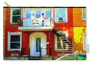 Verdun City Street Triplex Apartment Outdoor Winding Stairs Montreal Scenes Primary Colors C Spandau Carry-all Pouch