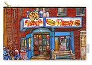Verdun Famous Restaurant Pierrette Patates - Street Hockey Game At 3900 Rue Verdun - Carole Spandau Carry-all Pouch