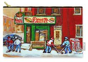 Verdun Hockey Game Corner Landmark Restaurant Depanneur Pierrette Patate Winter Montreal City Scen Carry-all Pouch by Carole Spandau