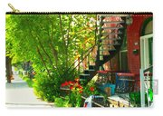 Verdun Stairs Red Flowers On Winding Staircase Tall Shade Tree Montreal Summer Scenes Carole Spandau Carry-all Pouch