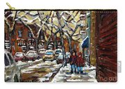 Verdun Winter Row Houses In January Montreal Paintings Time For A Walk Carole Spandau Carry-all Pouch