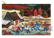 Vermont Pond Hockey Scene Carry-all Pouch by Carole Spandau