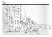 Vertical Amalfi Pencil And Ink Sketch Carry-all Pouch