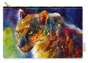 Vibrant Watercolor Leopard Wildlife Painting Carry-all Pouch