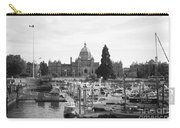 Victoria Harbour With Parliament Buildings - Black And White Carry-all Pouch by Carol Groenen