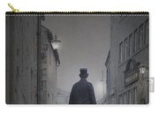 Victorian Man In Top Hat On A Cobbled Road At Night Carry-all Pouch