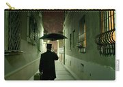 Victorian Man With Top Hat Carrying A Suitcase And Umbrella Walking In The Narrow Street At Night Carry-all Pouch