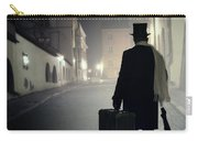 Victorian Man With Top Hat Carrying A Suitcase Walking In The Old Town At Night Carry-all Pouch