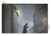 Victorian Man With Top Hat On A Cobbled Street At Night Carry-all Pouch
