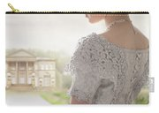 Victorian Woman Approaching A Country Manor House Carry-all Pouch