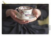 Victorian Woman Holding A China Cup And Saucer Of Tea Carry-all Pouch