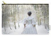 Victorian Woman Running Through A Winter Woodland With Fallen Sn Carry-all Pouch