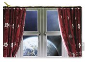 View Of The Earth Through A Window With Curtains Carry-all Pouch