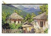 Village Scene In The Mountains Carry-all Pouch