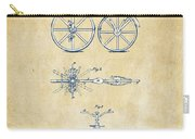 Vintage 1866 Velocipede Bicycle Patent Artwork Carry-all Pouch