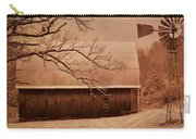 Vintage Barn And Windmill Winter Carry-all Pouch