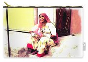 Vintage Just Sitting 2 - Woman Portrait - Indian Village Rajasthani Carry-all Pouch