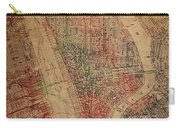 Vintage Manhattan Street Map Watercolor On Worn Canvas Carry-all Pouch