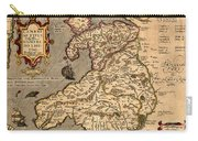 Vintage Map Of Wales 1633 Carry-all Pouch