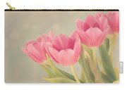Vintage Pink Tulips Carry-all Pouch by Kim Hojnacki