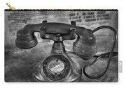 Vintage Telephone In Black And White  Carry-all Pouch
