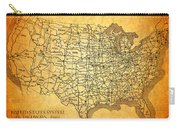 Vintage United States Highway System Map On Worn Canvas Carry-all Pouch