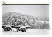 Vintage Wagon In Snow And Fog Filled Valley Carry-all Pouch