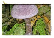 Violet Cortinarious -cortinarious Violaceus Mushroom On Mossy Log Carry-all Pouch