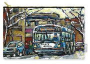 Waiting For The 80 Bus Montreal Memories Winter City Scene Painting January Art Carole Spandau Art Carry-all Pouch