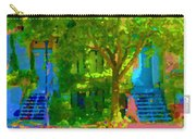 Walk In The City Past Blue Houses Staircases And Shade Trees Montreal Summer Scene Carole Spandau Carry-all Pouch