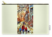 Walking The Dog By Balconville Winter Street Scenes Art Of Montreal City Paintings Carole Spandau Carry-all Pouch