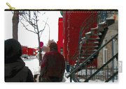 Walking The Dog Through Snowy Streets Of Montreal Urban Winter City Scenes Carole Spandau Carry-all Pouch