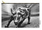 Wall Street Bull Black And White Carry-all Pouch