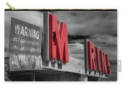 Warning M Rine Black And White Carry-all Pouch