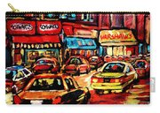 Warshaw's Bargain Fruits Store Montreal Night Scene Jewish Montreal Painting Carole Spandau Carry-all Pouch