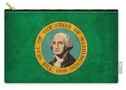 Washington State Flag Art On Worn Canvas Carry-all Pouch