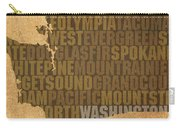 Washington Word Art State Map On Canvas Carry-all Pouch