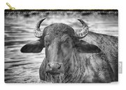 Water Buffalo-black And White Carry-all Pouch