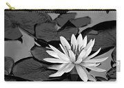 Water Lily Black And White Carry-all Pouch